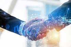Business man investor handshake with global network link connection and graph