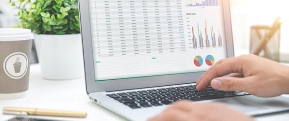 Valuation excel spreadsheet on laptop screen